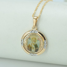 Anniyo NEW St. Nikolas Russia Saint Nicholas Necklace Pendant Jewelry Orthodox Necklace Chains for Women/Men #003804(China)