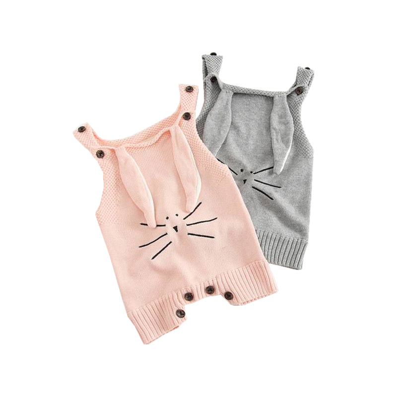 Autumn Baby Knit Romper Infant Sweet Girl Knitted Rabbit Overalls Bunny Baby Jumpsuit Toddler Girls Boys Clothing Roupa Menina puseky 2017 infant romper baby boys girls jumpsuit newborn bebe clothing hooded toddler baby clothes cute panda romper costumes