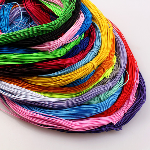 12M 1mm Braided Elastic Cord Beading Threads Stretch String Fabric Crafting Cords for Jewelry Making 23 Colors