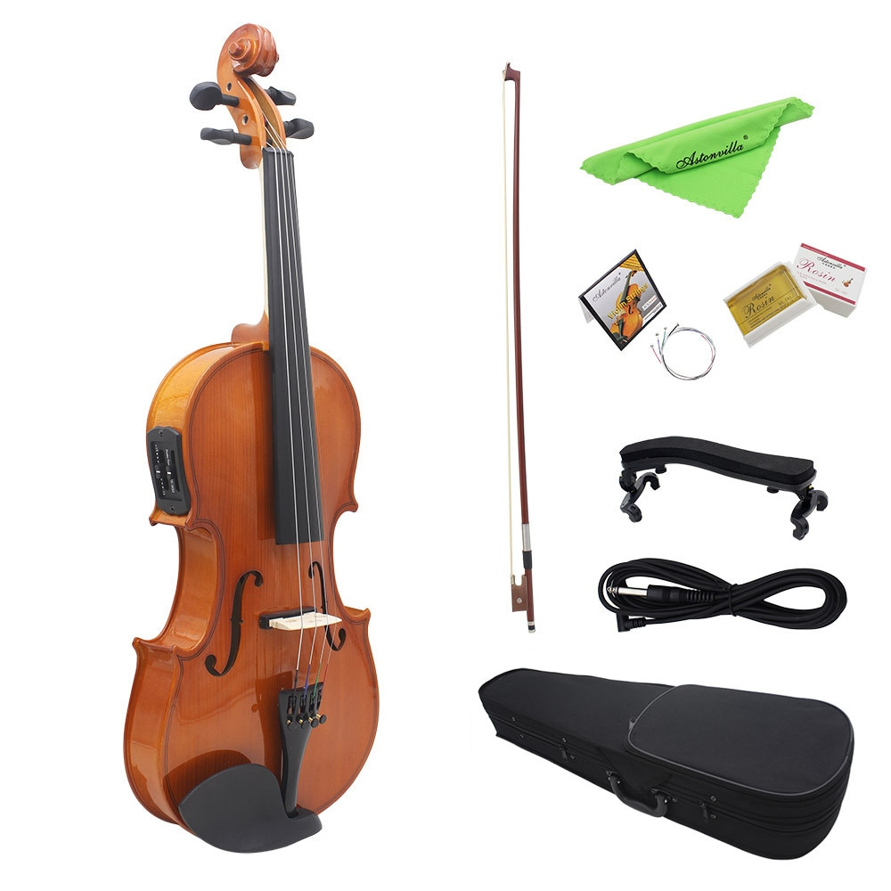 4/4 pleine taille acoustique naturel EQ violon violon en bois massif épicéa Face panneau avec 6.35mm 1/4