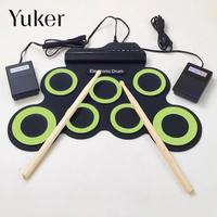 Professional 7 Pads USB Silicone Roll Up Foldable Musical Electronic Drum
