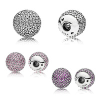 One Pair 925 Sterling Silver Bead Charm Snake Chain Fit Original Pandora Open Bangle Purple Pink Pave End Caps Women DIY Jewelry