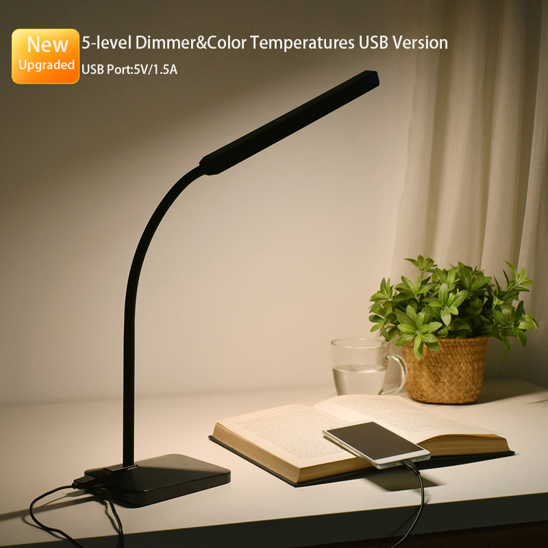 Gooseneck LED Desk Lamp 12W Table Reading Light Dimmable Office Lamp with 5V 1.5A USB Charging Port,Touch Control,5 Color Modes