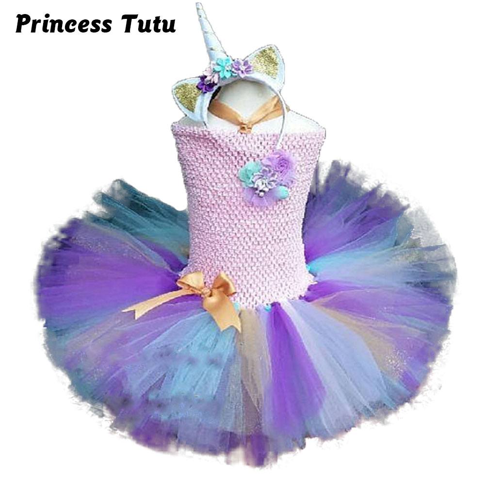 Bustle Unicorn Costume With Headband For Kids Baby Girl Flower Knee Length Birthday Party Tutu Dress Princess Pony Tutu Dresses 1set baby girl polka dot headband romper tutu outfit party birthday costume 6 colors