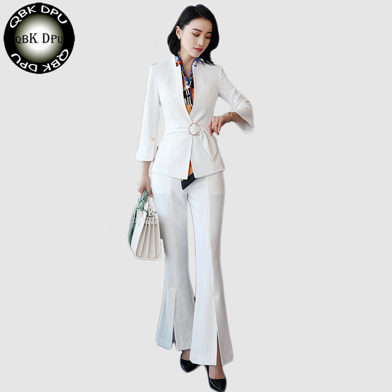 2018 New Women Pant Suit Office Uniform Designs Formal Ladies Business Career Wear white Blazer With Trouser For Work S-4XL le suit women s water lilies woven pant suit with scarf