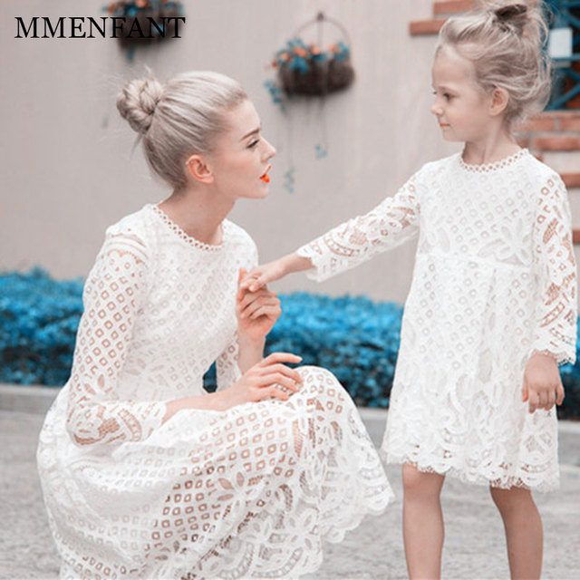 Formal Mother Daughter Dresses Autumn And Winter New 2017 Girls Hollow Lace Dress Family Christmas Wedding