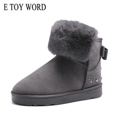 E TOY WORD Winter Women Boots New Style Thickened Female Snow Bottom Flat Warm Waterproof