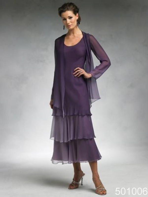 Purple chiffon tea length mother of the bride wedding for Long sleeve dresses for wedding party
