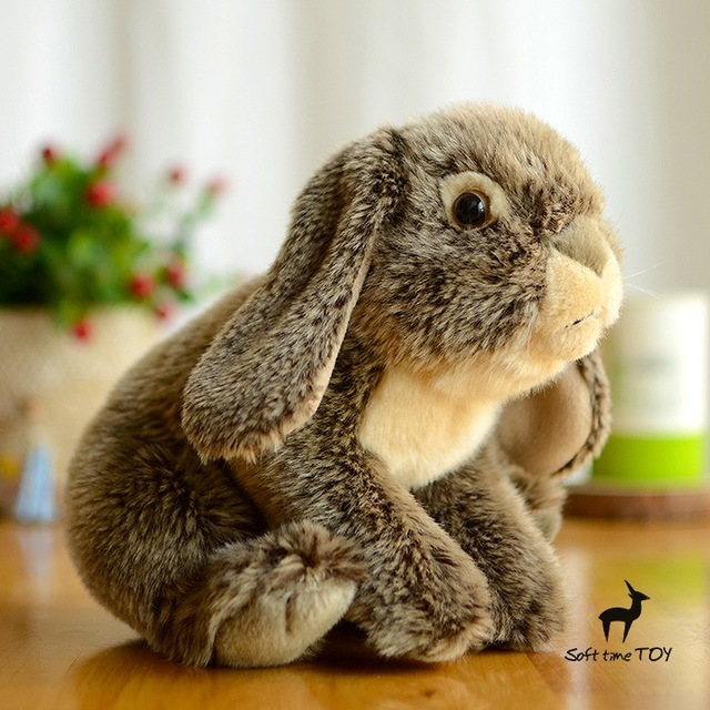 US $21 6 10% OFF|End of a single looter doll grey rabbit plush toy High  quality brand Gift Toys R Us lop Rabbit plush toy doll grey simulation-in