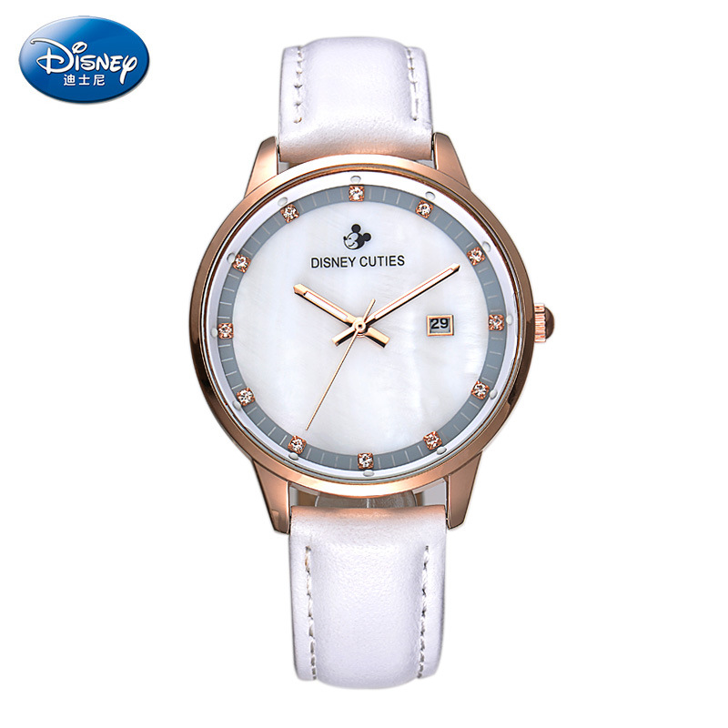 Disney brand luxury diamond quartz leather watches for womens and mens white brown black pink gold band waterproof calendar карабин black diamond black diamond rocklock twistlock
