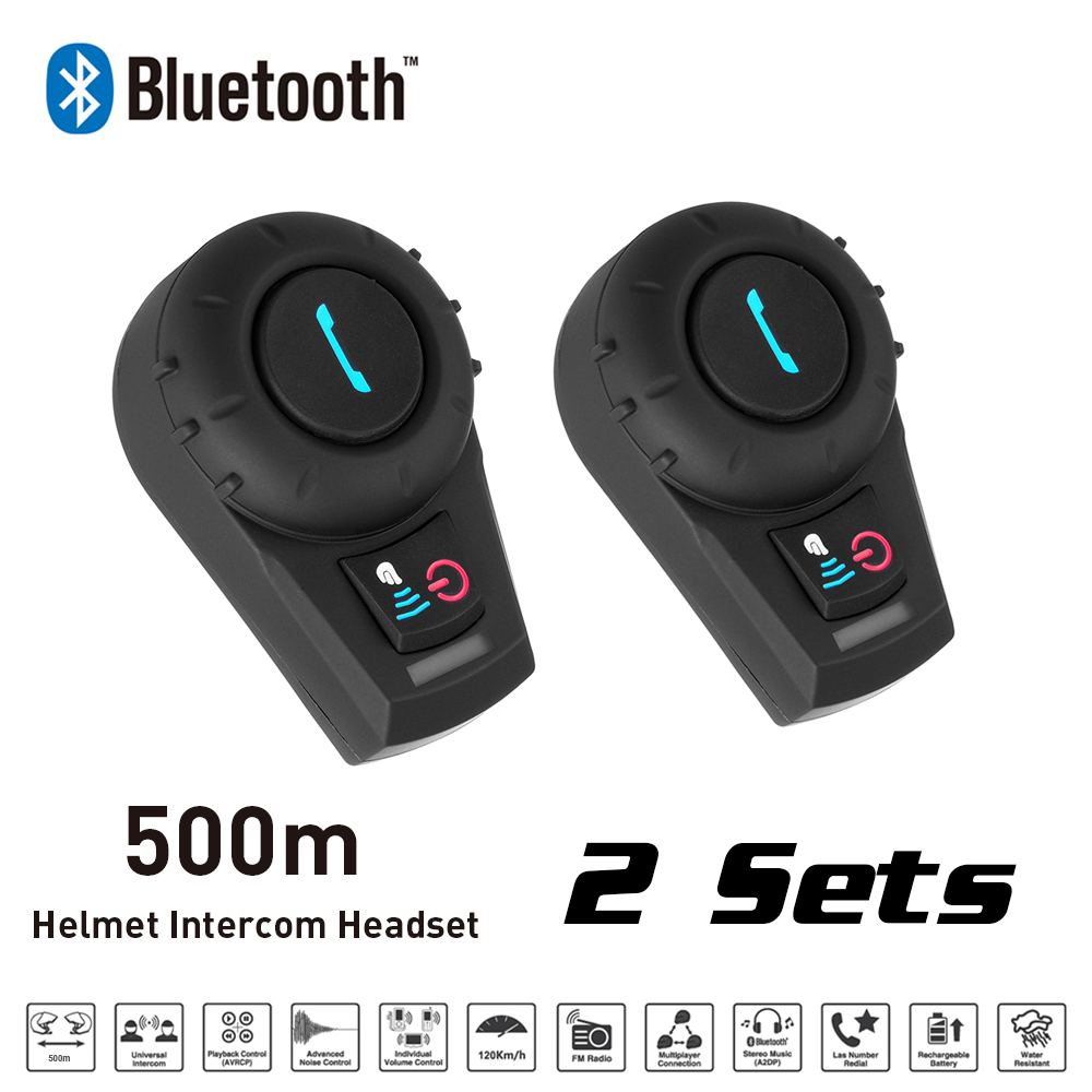 Motorcycle Interphone 2 Sets 500M BT Bluetooth FM Radio Motorcycle Helmet Intercom Headset intercomunicador for Phone