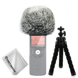 Na zewnątrz przenośne rejestratory cyfrowe futrzany mikrofon szyby przedniej wiatr Muff dla ZOOM H1 + mini statyw