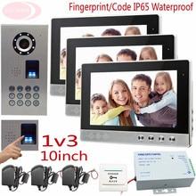 Video Doorphone Systems Fingerprint/Code Unlock Video Door Bell 10″ Screen Clear Image For 3 Apartments IP65 Waterproof Doorbell