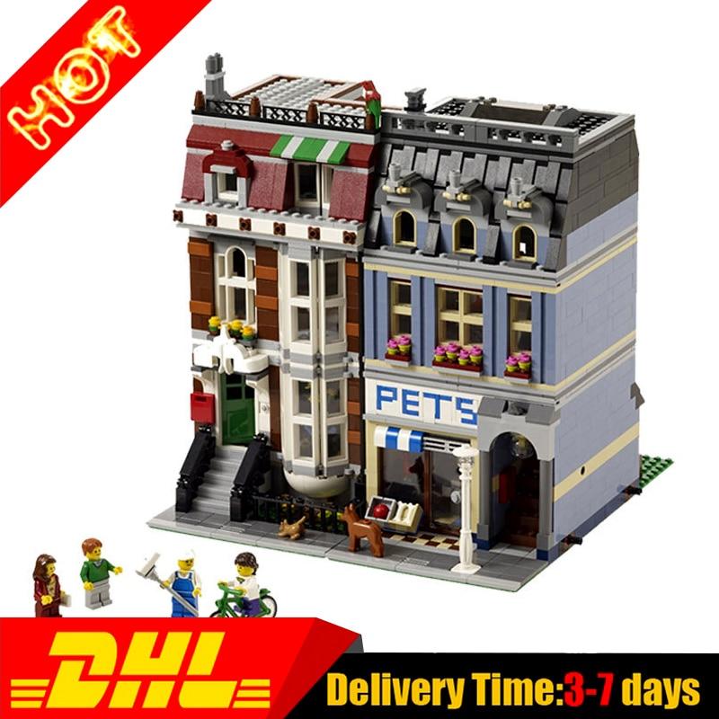 ФОТО 2017  LEPIN 15009  DHL 2082PCS City Street Pet Shop Model Building Block Set Bricks Kits Set Compatible 10218