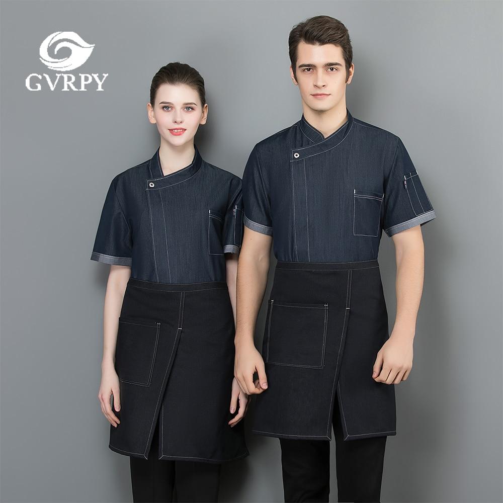 Summer High Quality Shirt Short Sleeve Thin Denim Chef Coat Restaurant Hotel Kitchen Cooking Work Uniform Cafe Waiter Workwear