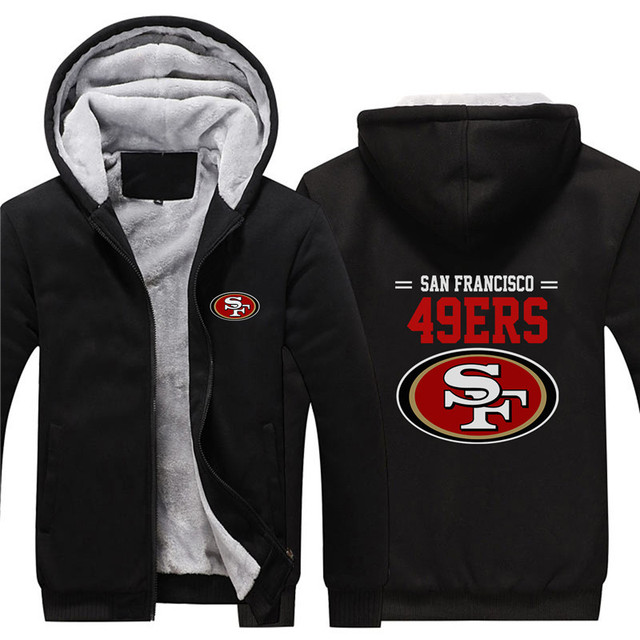 new product ddab9 e75ee NFL American football San Francisco 49ers thicken Warm hooded sweatshirt  casual winter coat-in Hoodies & Sweatshirts from Men's Clothing &  Accessories ...