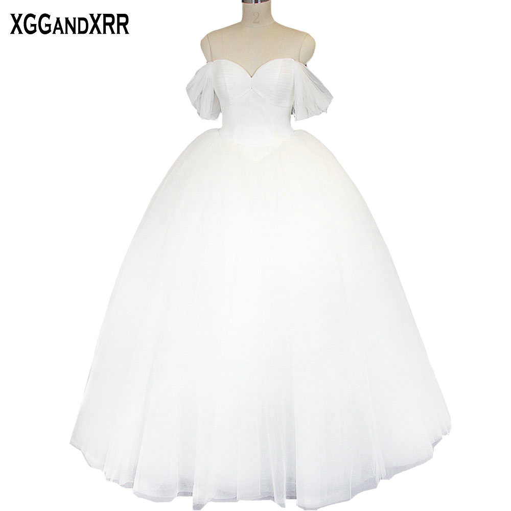 Princess Pure Tulle Ball Gown Wedding Dresses 2018 Sweetheart Lace ...