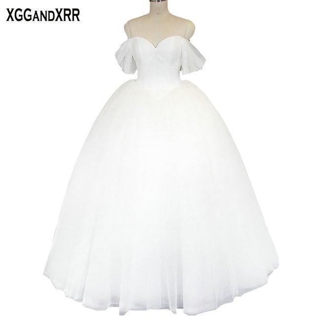44fcbe4aec7 Princess Pure Tulle Ball Gown Wedding Dresses 2018 Sweetheart Lace Up Back  Bridal Dresses Off Shoulder Vestido De Noiva