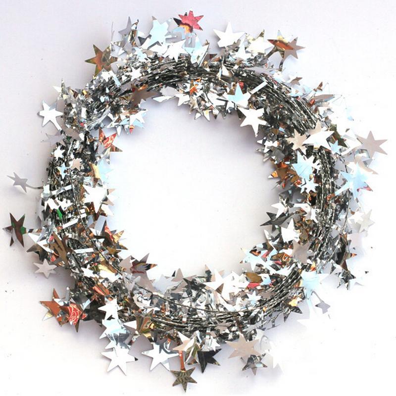 5M 5Colors Christmas Tree Hanging Star Pine Tinsel Stars Rattan Garland Christmas Decoration Ornament