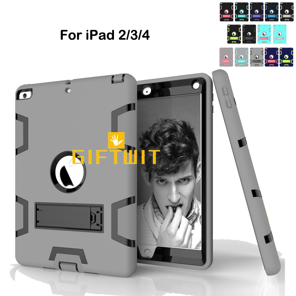 Case For IPad 2 / 3 / 4, High Impact Resistant Shockproof Heavy Duty Armor Silicon+PC Hybrid Three Layer Stand Cover Case