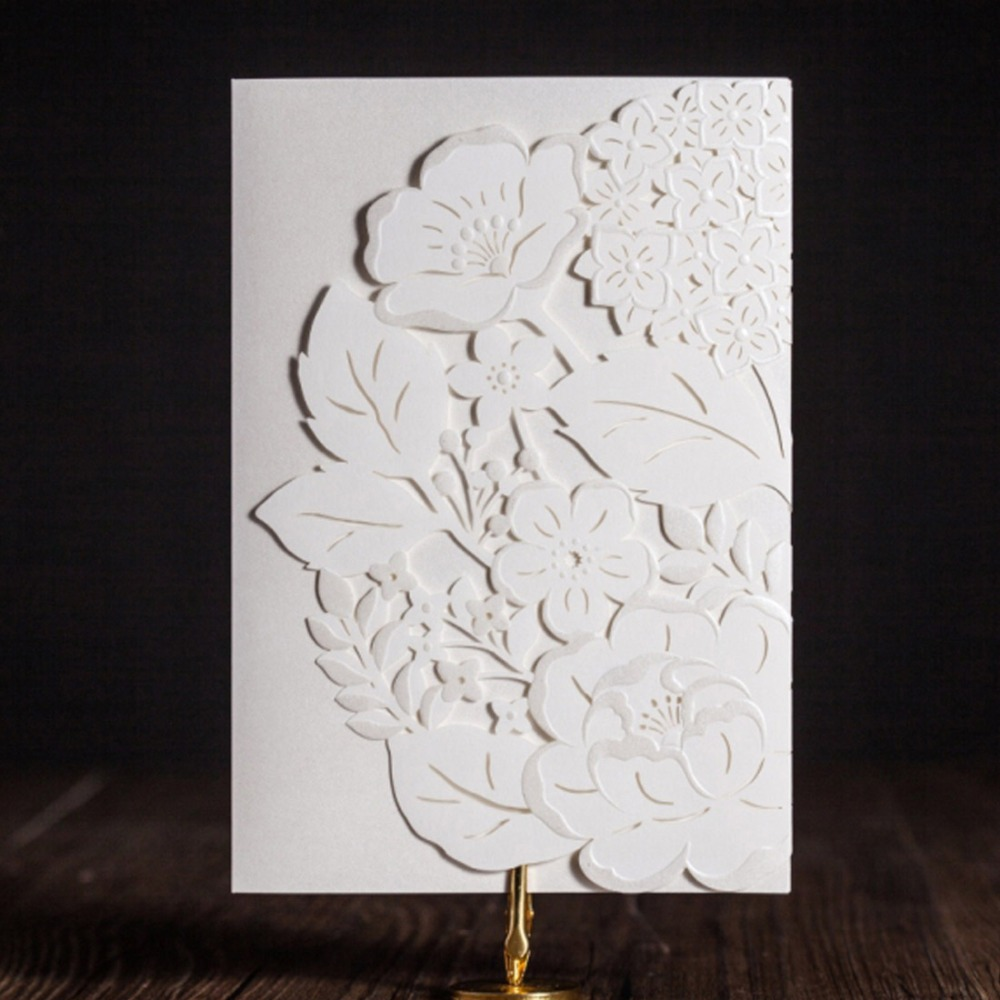 Aliexpresscom buy white laser cut wedding invitations for Paper fasteners wedding invitations