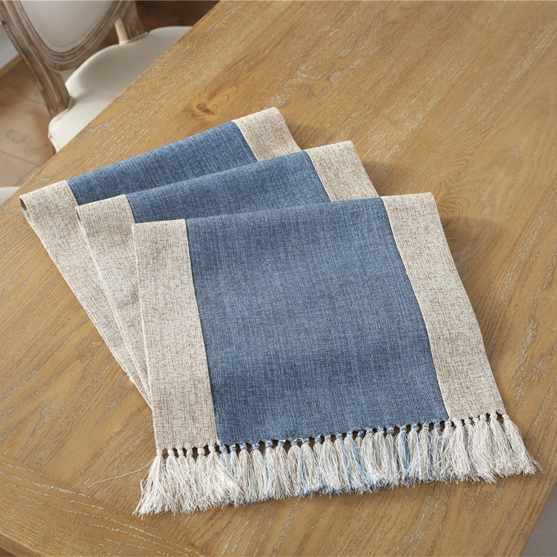 Junwell Polyester Dry Hand Table Runner With Hand-made Tassel Tablecloth For Dinner Parties, Summer BBQ & Outdoor Picnics