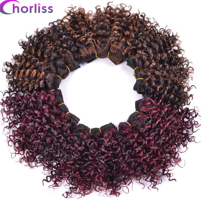 Synthetic Weave Trustful Chorliss 8 Afro Kinky Curly Hair Weaving Synthetic Hair Extensions Ombre Burgundy Weave Crochet Hair Weft 105g/lot 3pcs/lot Hair Extensions & Wigs