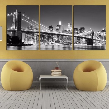 Canvas Art 3 Piece Hot Sell Modern wall Painting Artwork New York Brooklyn bridge Modern Home Decorative Modular Pictures Frame