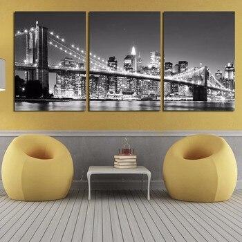 Tela di canapa di Arte 3 Pezzo Vendita Calda della parete Moderna Pittura Opere D'arte di New York ponte di Brooklyn Moderna Casa Decorativa Immagini Modulari Cornice