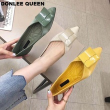 DONLEE QUEEN Pointed Toe Ballet Flats Shoes Women Foldable Ladies New Summer Fashion Dress Ballerinas Female Square Buckle