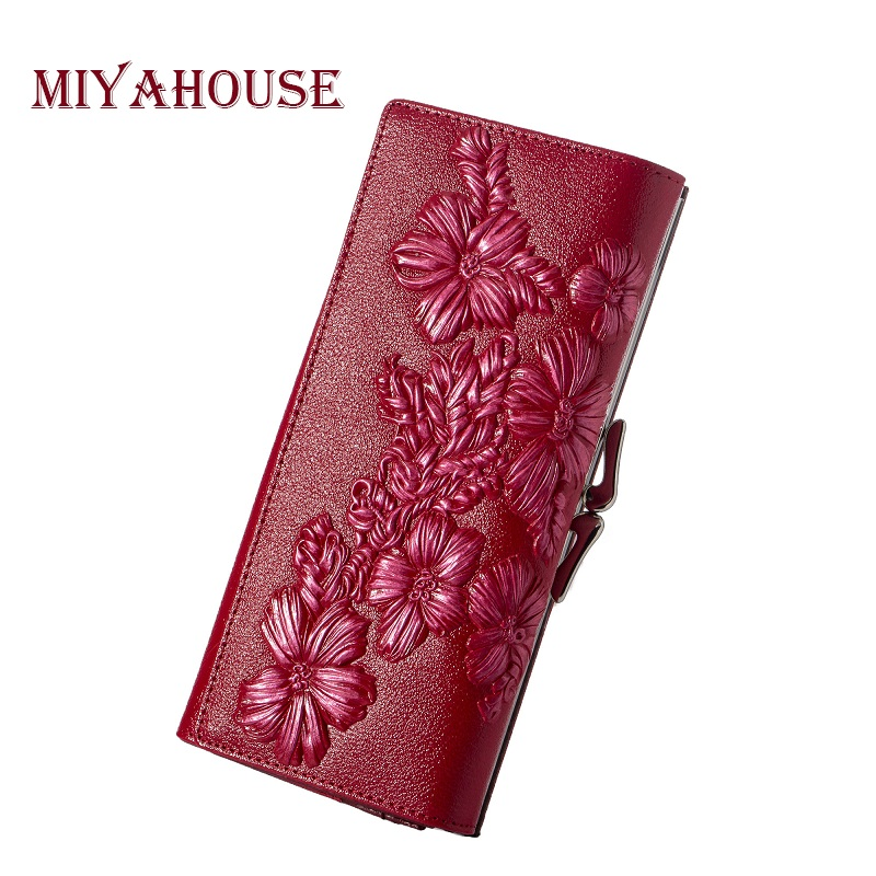 Miyahouse Genuine Leather Women Wallets Embossed Floral