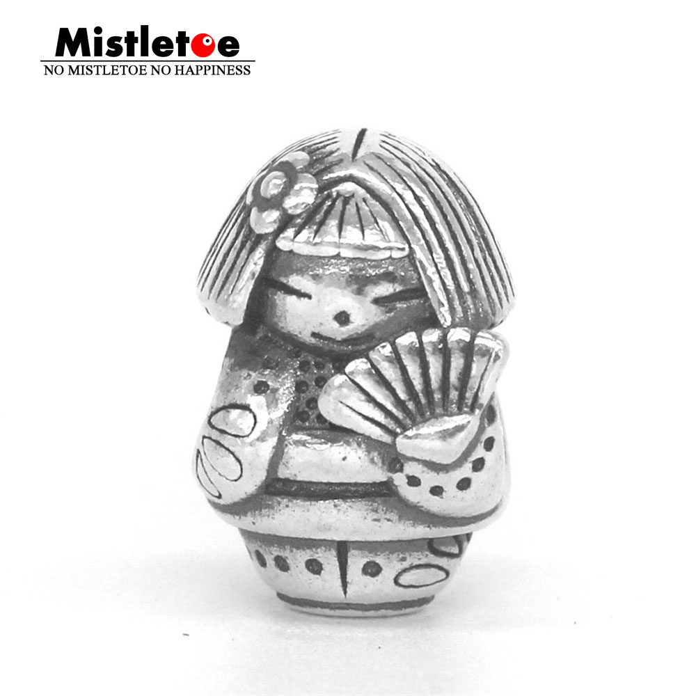 Mistletoe Genuine 925 Sterling Silver Fan doll Charm Bead Fit OHM Troll And Pan Bracelet Jewelry стоимость
