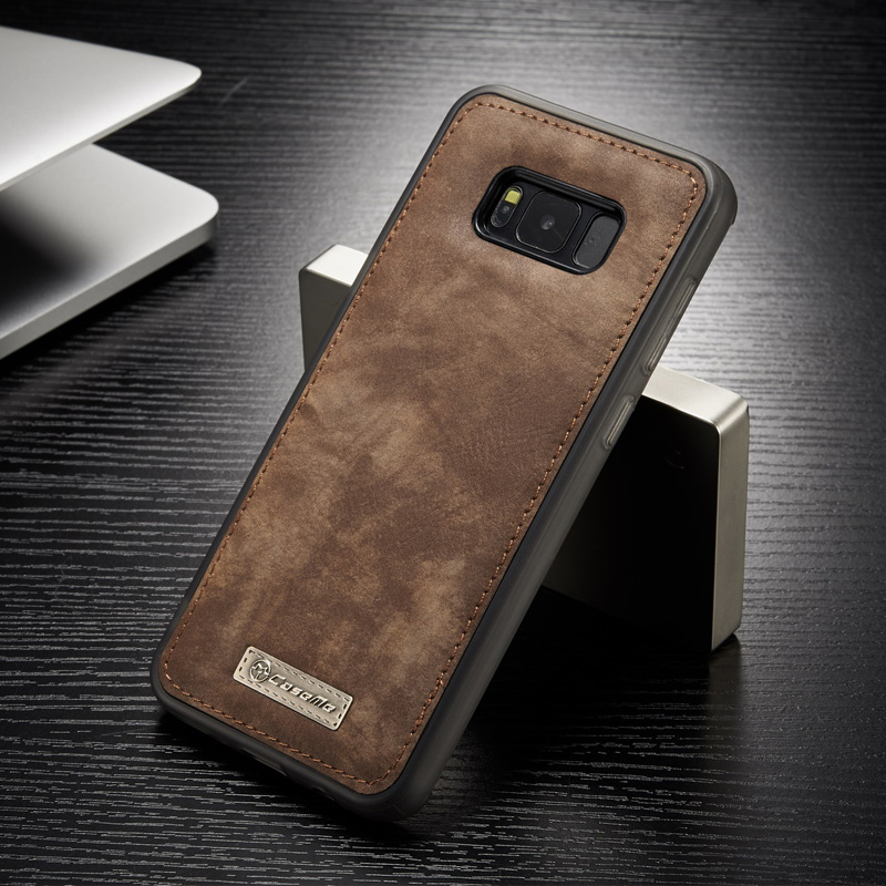 Original CaseMe Built-in Magnet Vintage Leather + Soft TPU Silicon Back Cover Case For Samsung Galaxy S8 / S8 Plus Phone Case Bag