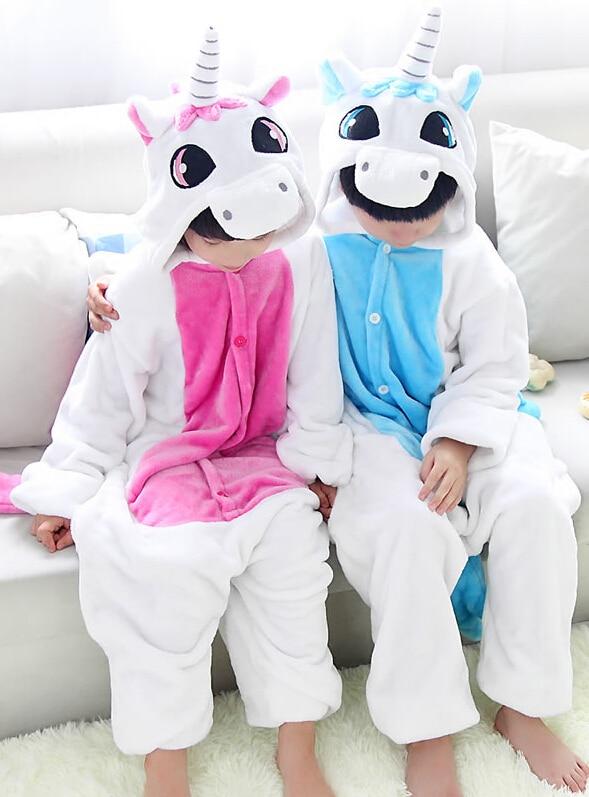 Unicorn poníky Kreslené kostýmy Cosplay Jumpsuit kostým pro děti Děti Onesie pyžama Oblečení pro Halloween karneval
