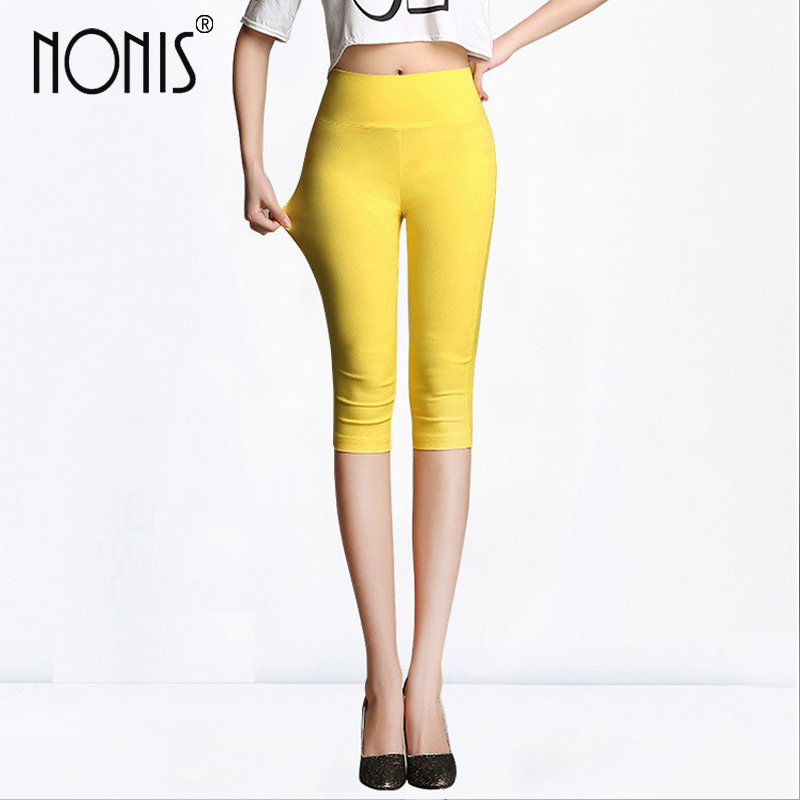 Nonis Farver Candy Color Leggings For Women 2017 Summer Knælange High Waist Stretch Girls Skinny Leggings Kvinderbukser
