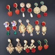 Новое поступление, модные брендовые Винтажные серьги-капли, ювелирные изделия в стиле барокко, розовая Цветочная ветка, висячие серьги для женщин