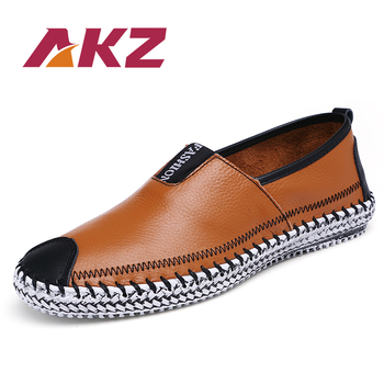 AKZ Brand Loafers Mens Casual shoes 2018 Spring cow leather Breathable High Quality Comfortable Light Male Flats shoes 38-48