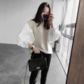 [sonnyour] 2017 Spring Fashion New Round Neck Lantern Sleeve Women's Split Joint  Short  Sweatshirt LS07212S