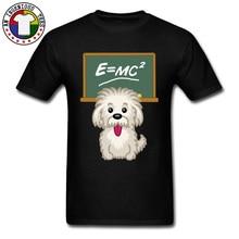 Cute Shih tzu Dog Einstein Math Science Graphic Funny Tshirt Pug Corgi 100% Cotton Tops T Shirt Summer Autumn Men Tshirts
