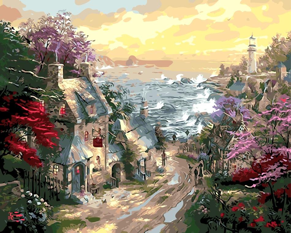 ⑦Isla hermosa casa y Mar Decoración para el hogar sin marco cuadros ...