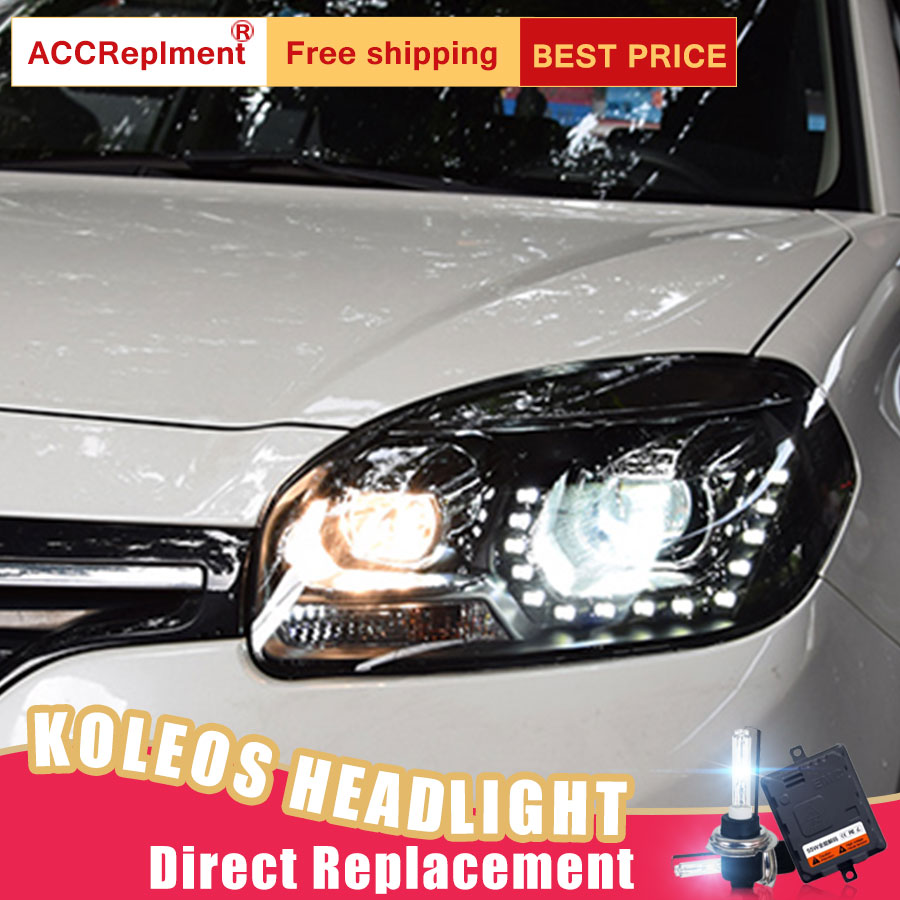 2Pcs LED Headlights For Renault Koleos 2012 2016 led car lights Angel eyes xenon HID KIT Fog lights LED Daytime Running LightsCar Light Assembly   -