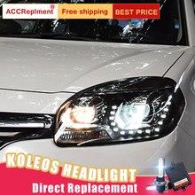 2Pcs LED Headlights For Renault Koleos 2012 2016 led car lights Angel eyes xenon HID KIT Fog lights LED Daytime Running Lights