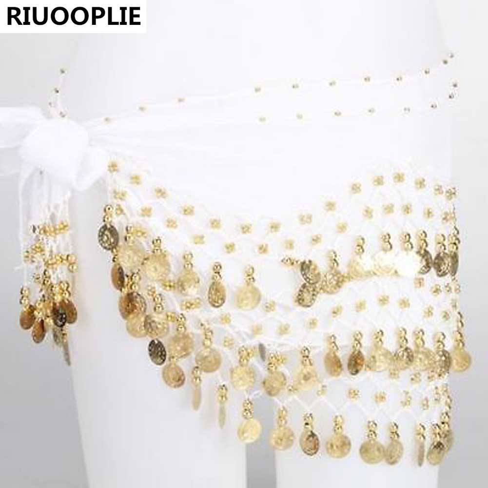 Dance Gold Coin 3 Rows Belt Hip Scarf Skirt Wrap Chain Dancing Costume Skirt