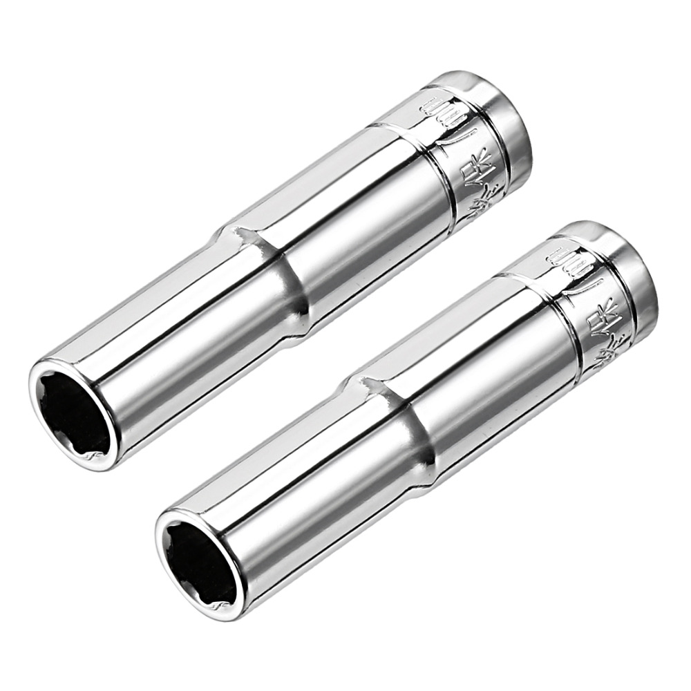 UXCELL 2Pcs 1/4-inch Drive 7mm 8mm 10mm 13mm Cr-V 6-Point Deep Socket For Automotive Repairs, Household Maintenance