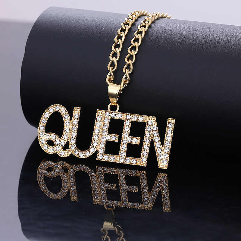Thời Trang Nữ Chữ Hoàng Hậu Mặt Dây Chuyền Vòng Cổ Nữ Hip Hop Trang Sức 2019 Cá Tính Dây Chuyền Dài Vòng Cổ Tỳ Nữ Quà Tặng