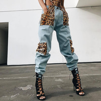VBTyBL women 2018 new fashion packet pants stitching leopard pocket overalls trousers loose high waist beam feet casual pants