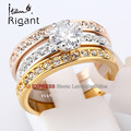 B1-r642 italina rigant moda conjuntos de novia anillo de compromiso de boda joyería 18kgp sz 5.5-9