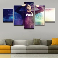 Home Decor Print Canvas Painting 5 Panel Cristiano Ronaldo Painting Wall Art Soccer Sports Picture For