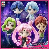 PrettyAngel Genuine Megahouse Petit Chara! Series Figure Sailor Moon Black Lady Moon Hen Set of 5 pcs