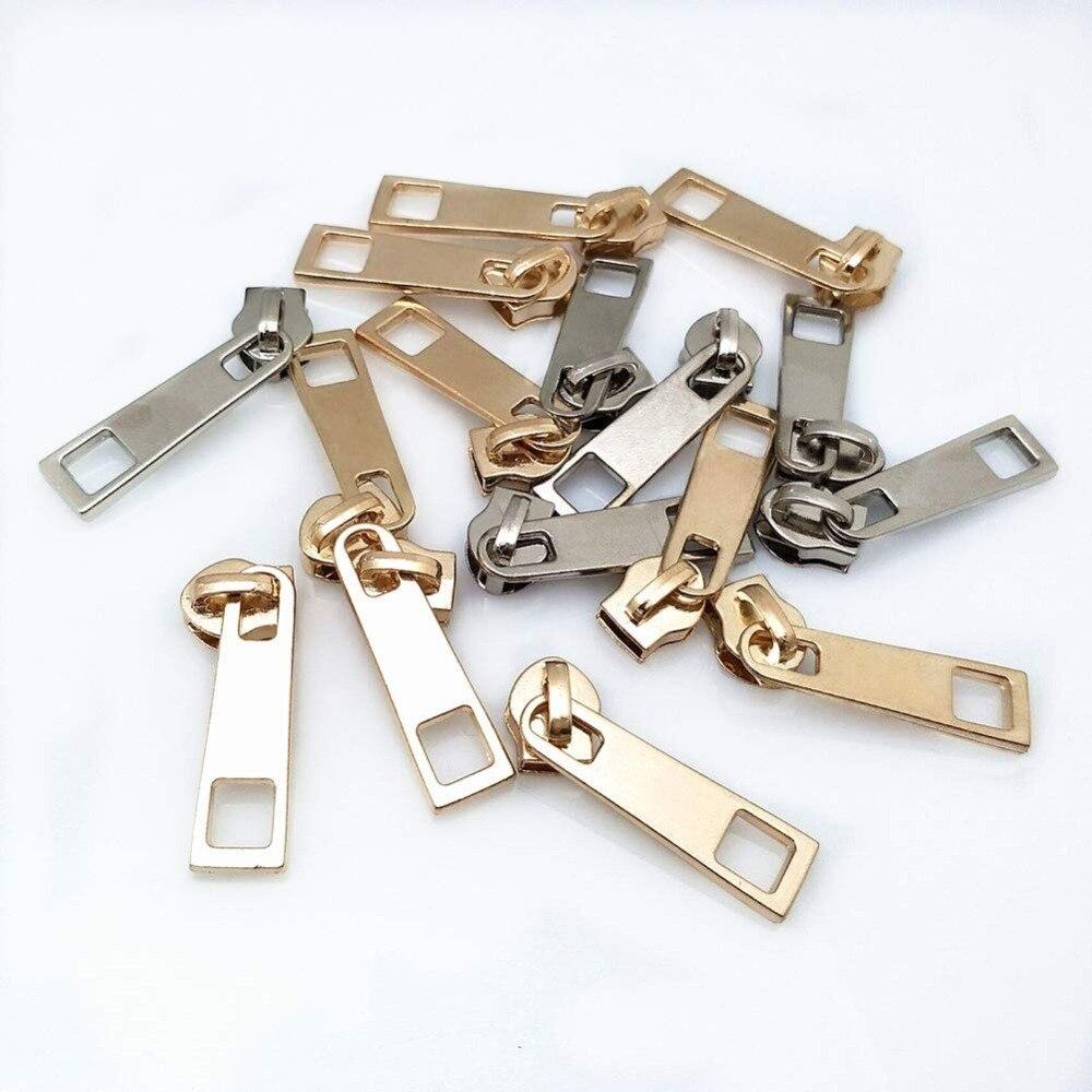 20 Pc High Quality 5# Metal Nylon Gold And Silver Zipper Slider Head Puller DIY Handwork Bag Luggage 5BB5576